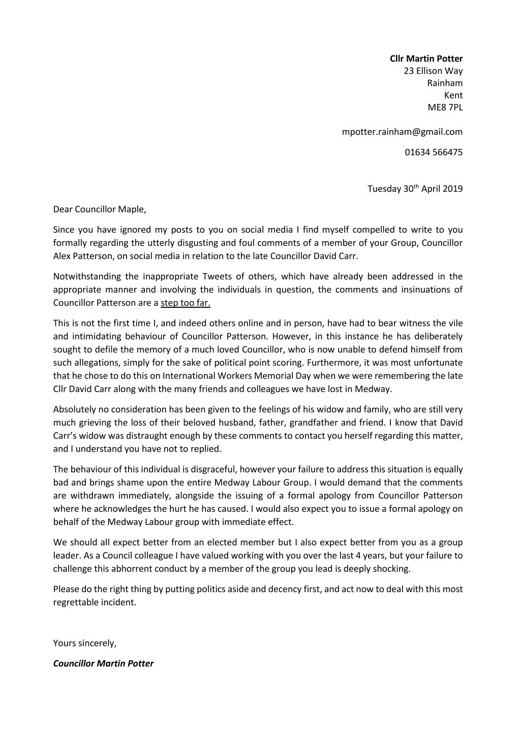 An Open Letter to Cllr Vince Maple from Cllr Martin Potter