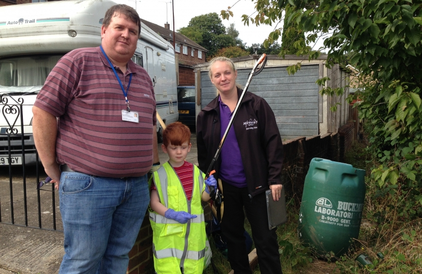 Mark Joy and his son Alexander joined Community wardens for a clear up