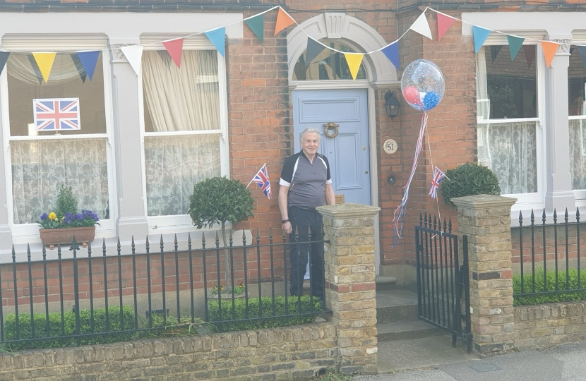 Councillor Tranter outside his home on VE day