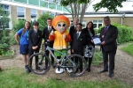 Councillor Filmer with the children of Greenacre academy and their bikes