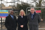Councillors Mackness and Tejan and Headteacher Christine Easton on site